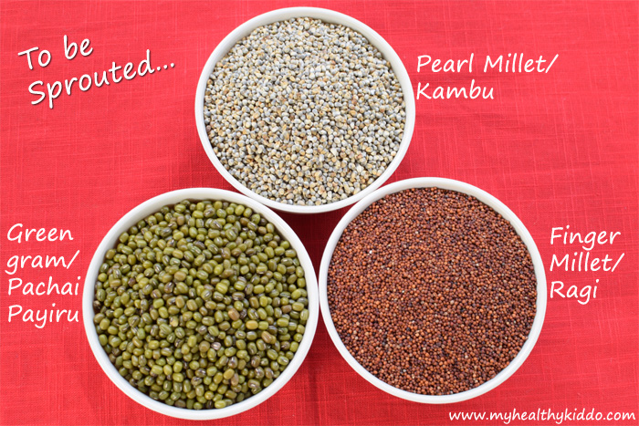 Grains to be sprouted for Sathu Maavu