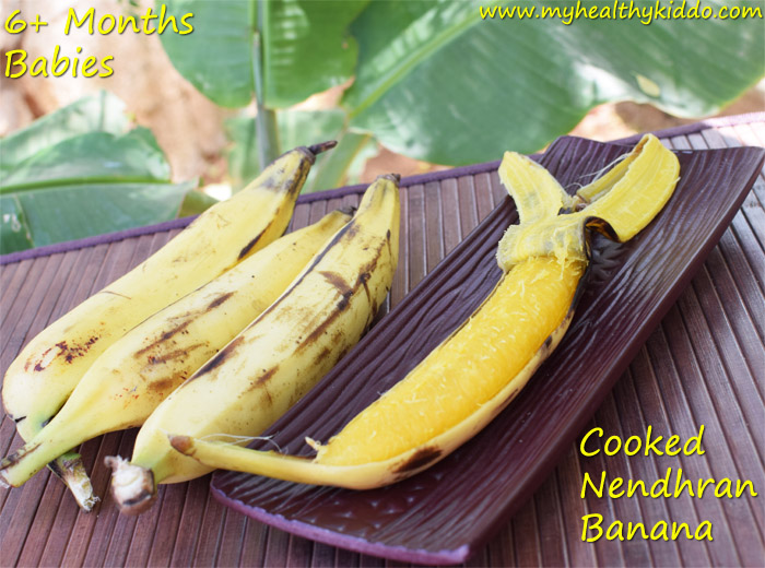 Cooked Nendran banana for babies