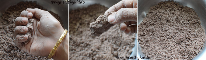 How to make sweet Ragi Puttu 2